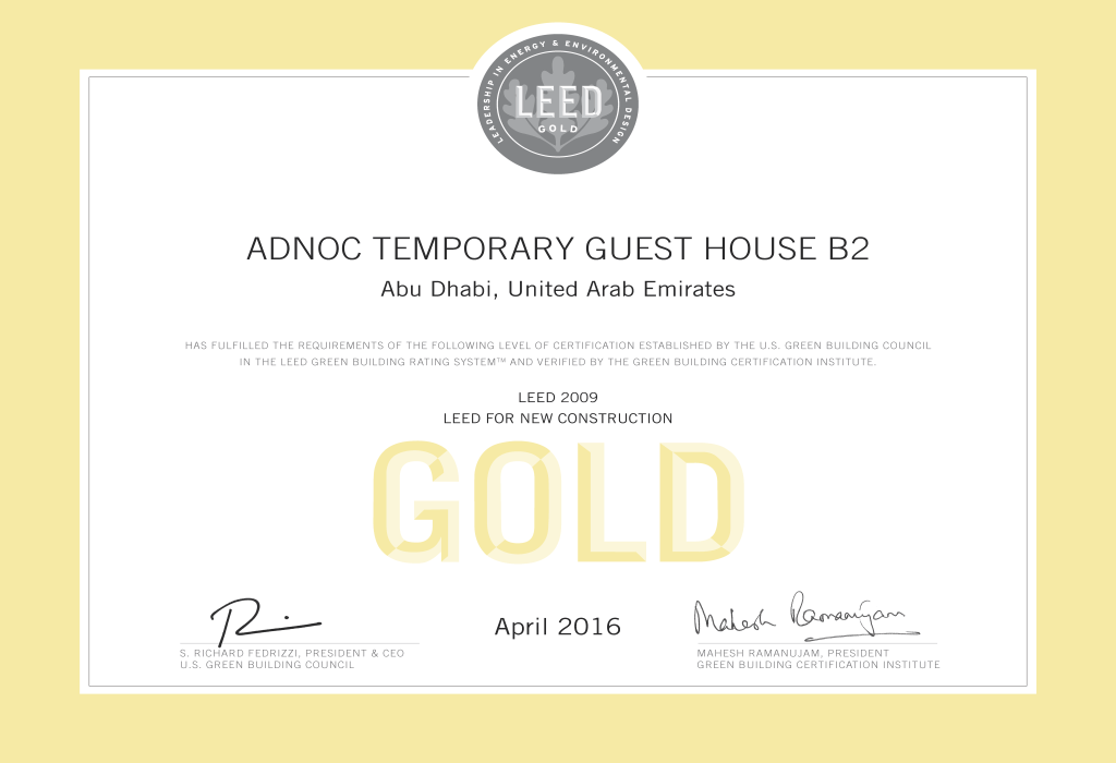 ADNOC Temporary Guest House B2 LEED Gold Certificate