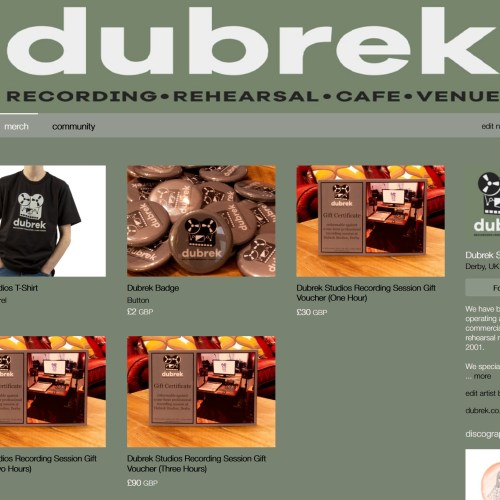 T-Shirts, Badges and Gift Vouchers now available via our Bandcamp Page