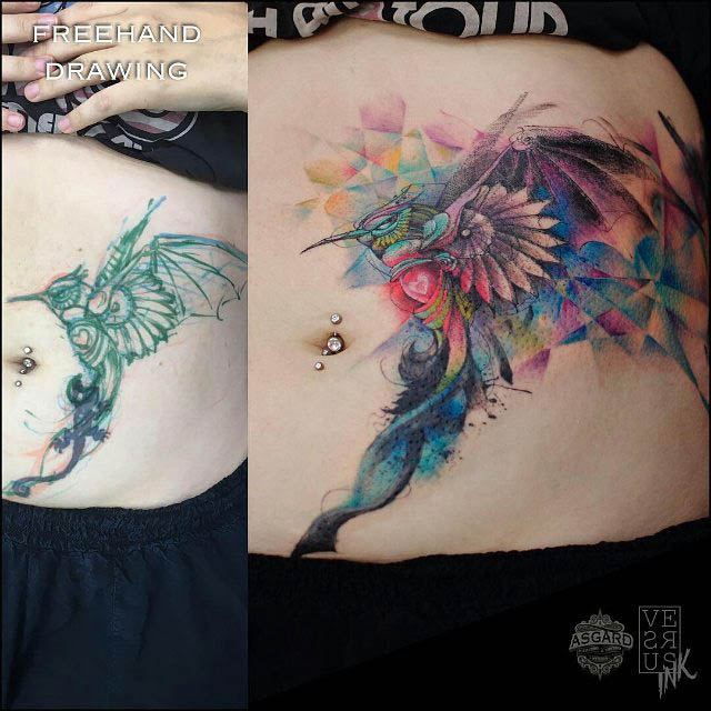 Colorful Shoulder Blade Tattoo Ideas