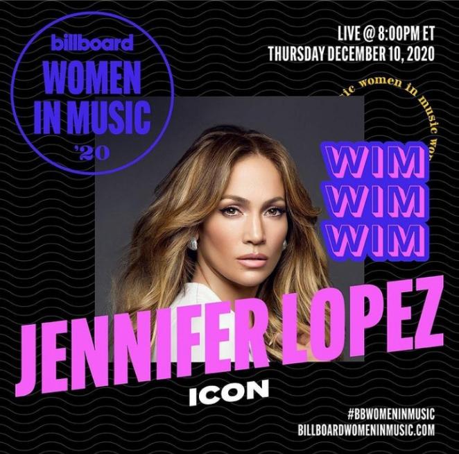 JLo Billboard 2020 Women In Music icon award
