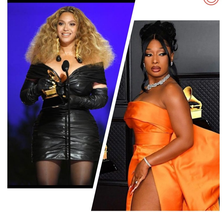 Beyonce and Megan Thee Stallion at the 63rd Grammy awards