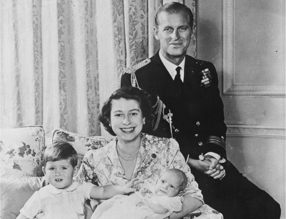 A young Prince Philip and Queen Elizabeth with family