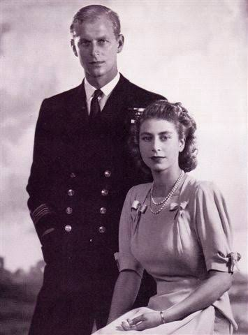 A young Prince Philip and Queen Elizabeth