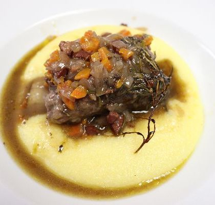 beef short ribs with goat cheese polenta