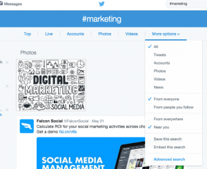Search for local posts on Twitter