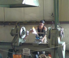 glass lathe in action