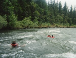 The water was a whopping 58 degrees but that didn't stop them from swimming in the rapids.