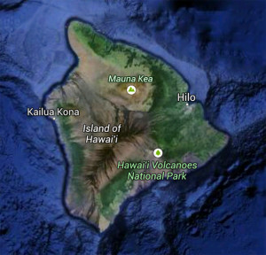 "Google Earth map of Hawai`i Island (""Big Island""), Hawai`i"