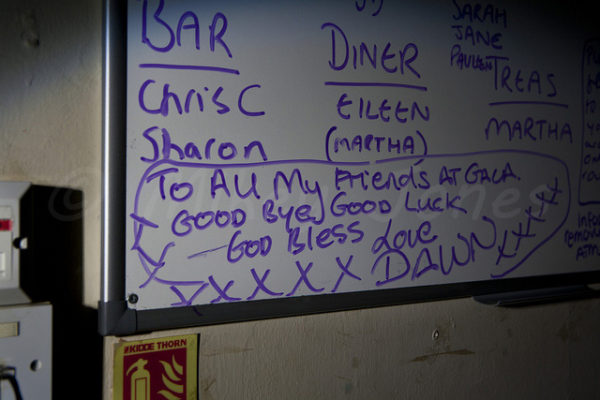 Farewell message on the notice board. © Mikey Jones.