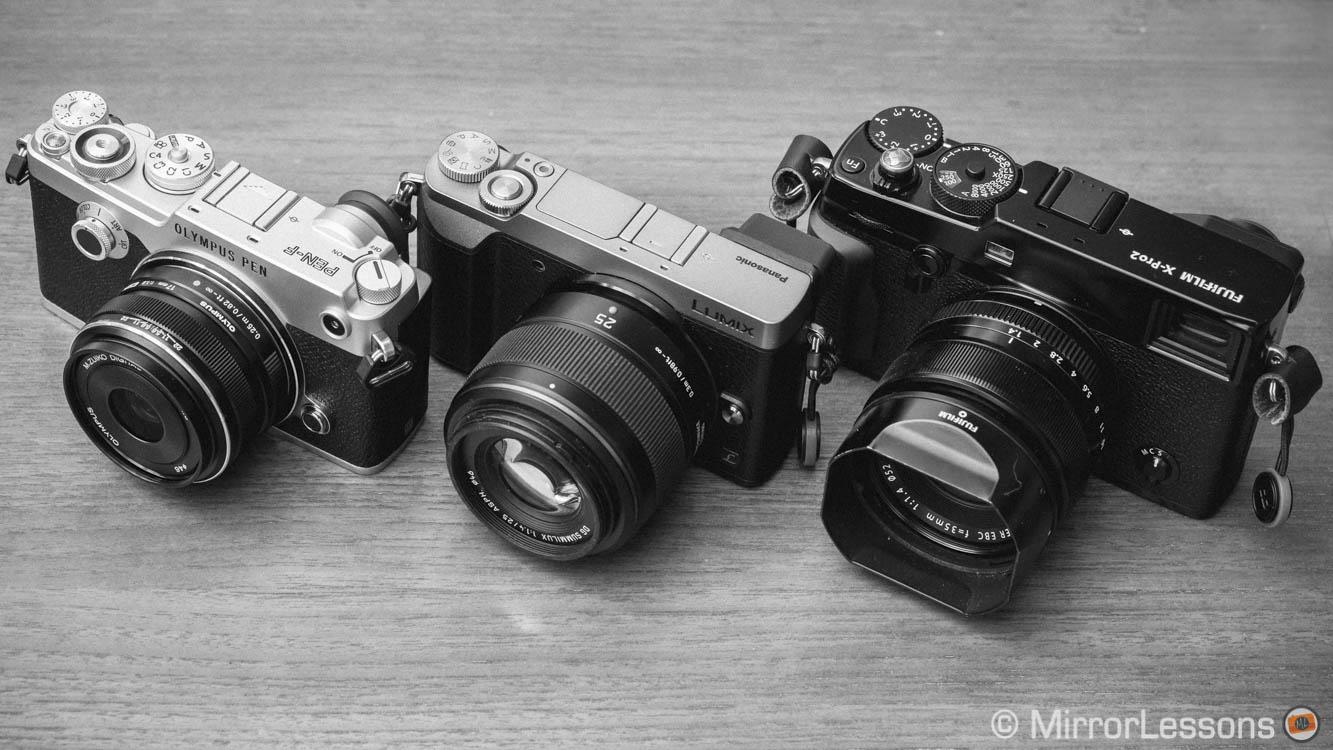 B&W: Fuji X-Pro2 vs  Olympus Pen F vs  Panasonic GX85 | Shooting M4/3