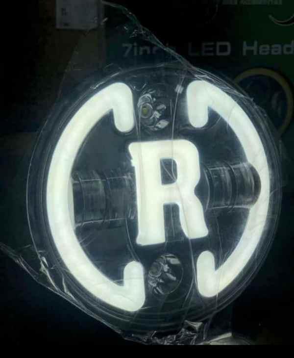7 Inch Full Ring LED Headlight R Logo for Royal Enfield