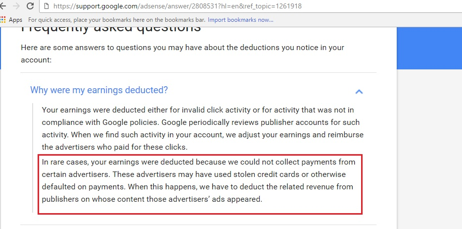 Why Google AdSense earnings were deducted?