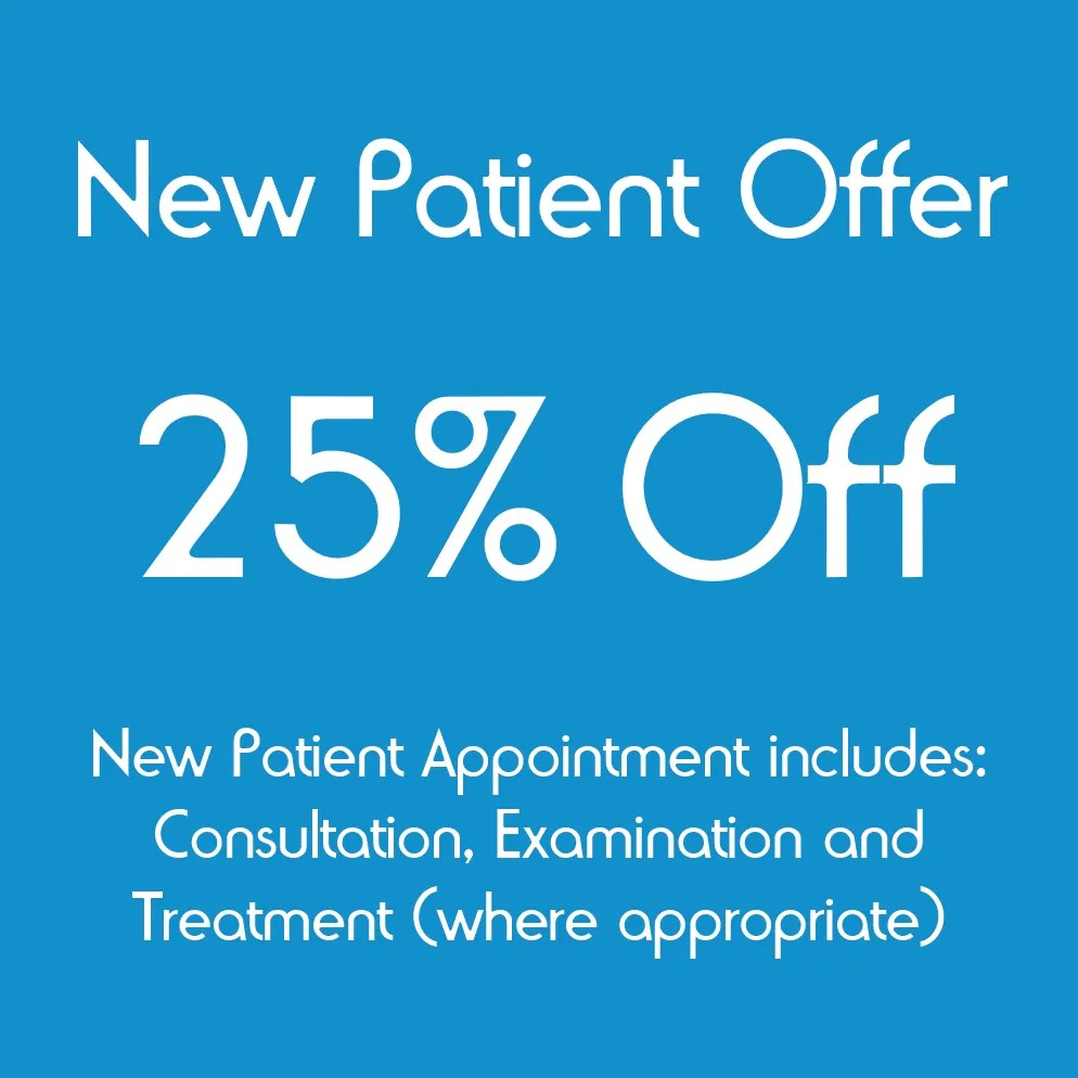 25% Off Your Chiropractic New Patient Appointment.  Complete The Form Below To Claim.