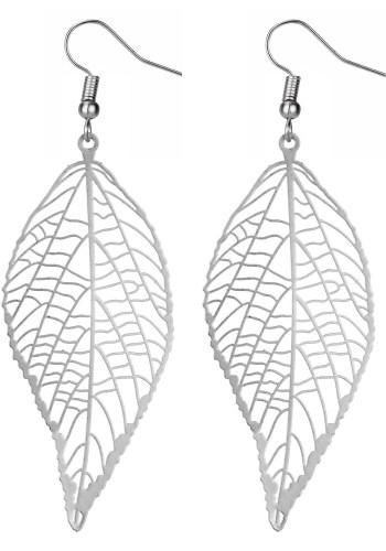 Silver tone leaf earrings