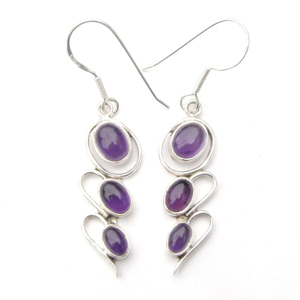 Triple Amethyst Earrings