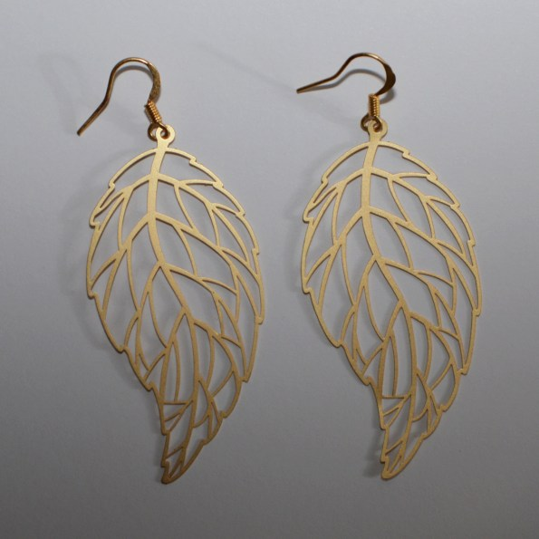 Golden wave leaf earrings