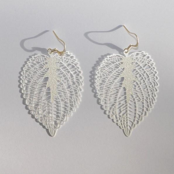 Silver toned heart leaf earrings