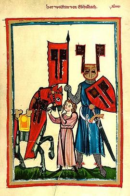 Middeleeuwse afbeelding van de schrijver van Parzival, Wolfram von Eschenbach.