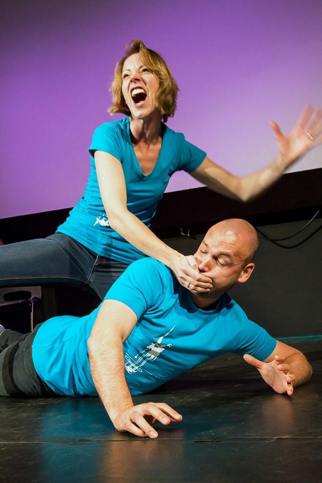 Houd jij je mond even, ik ben nu aan het schreeuwen. Scene uit een voorstelling van Dulcinea Theatersport Eindhoven