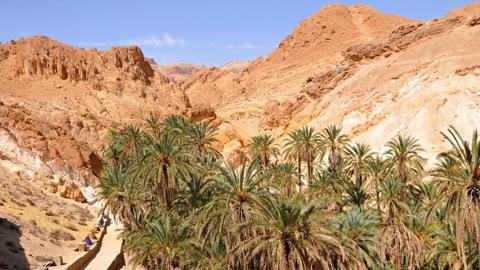 Vùng núi nhỏ khu biệt Chebika nằm ở Djerid của Tunisia