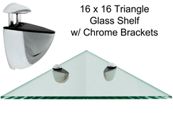 Triangle Glass Shelf 16 X 16 WChrome Brackets