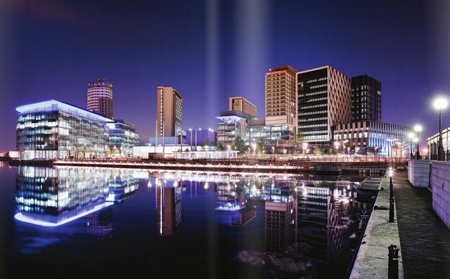 Duncan Hull - MediaCityUK at night, Salford Quays, Manchester