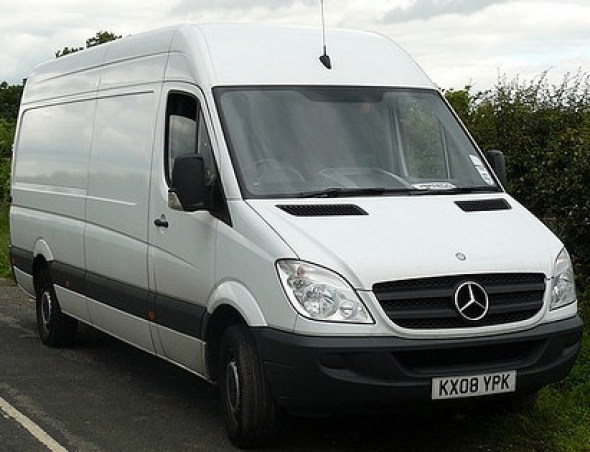 Mercedes White Long Wheel Base Van