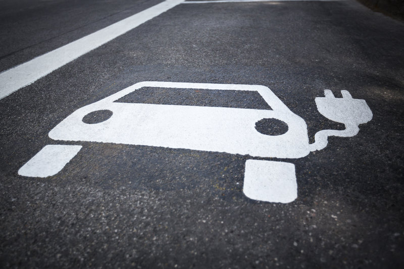 Parking symbol for electric cars being charged