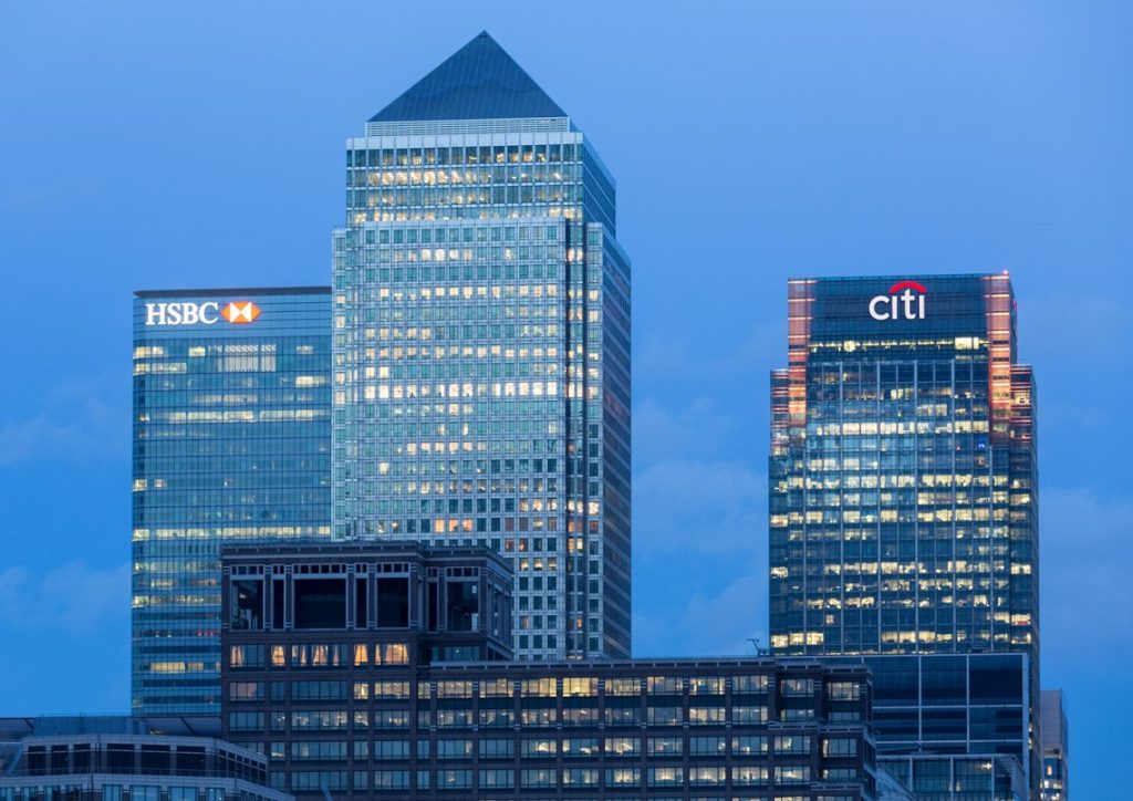 Skyline of Canary Wharf in London. HSBC Bank and Citibank
