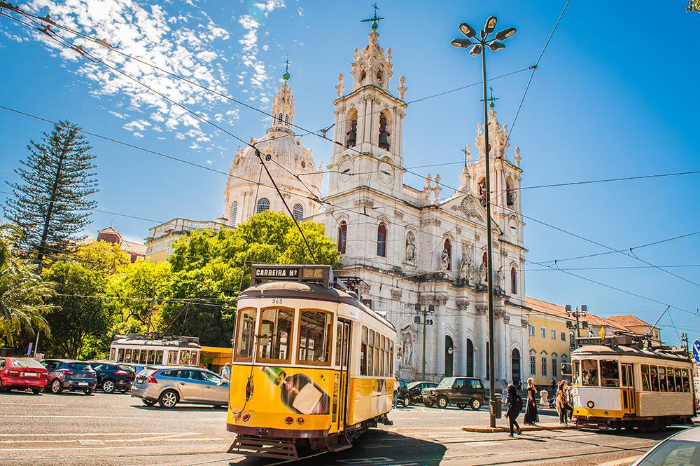 Yellow tram in Lisbon Portugal