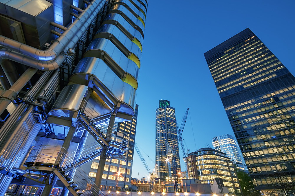 Tall modern buildings in London business district