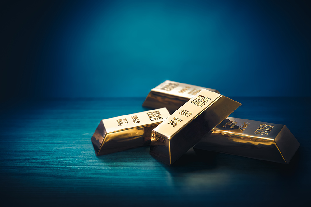 Gold bars with blue background