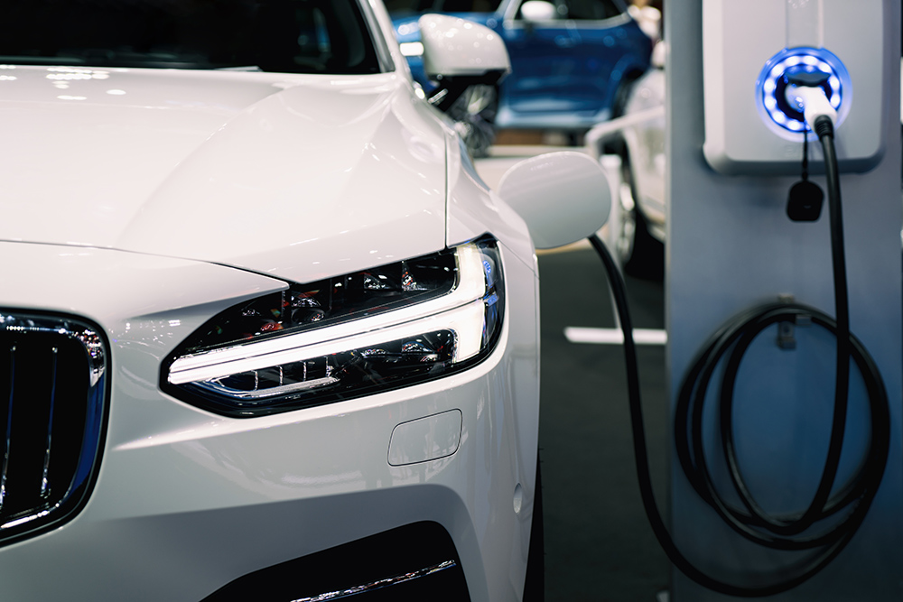 White electric vehicle charging battery