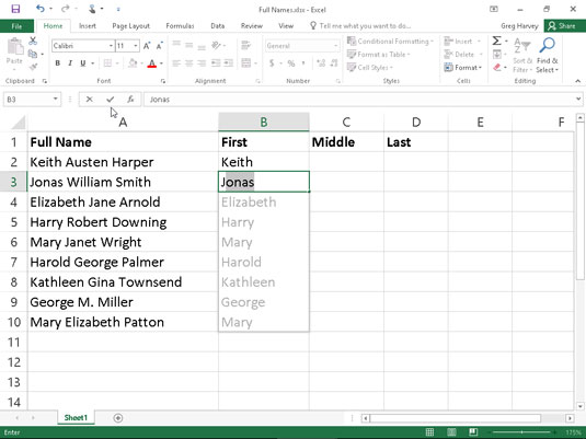 How To Use Flash Fill In Excel 2016 Dummies