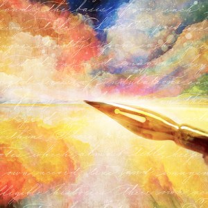 dip pen over photomanipulated abstract background