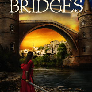 City of Bridges by Stace Dumoski cover - girl with sword looking over cityscape with bridge