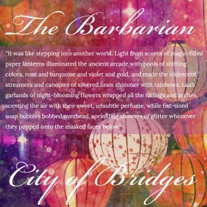 The Barbarian City of Bridges cover image, colored paper lanterns
