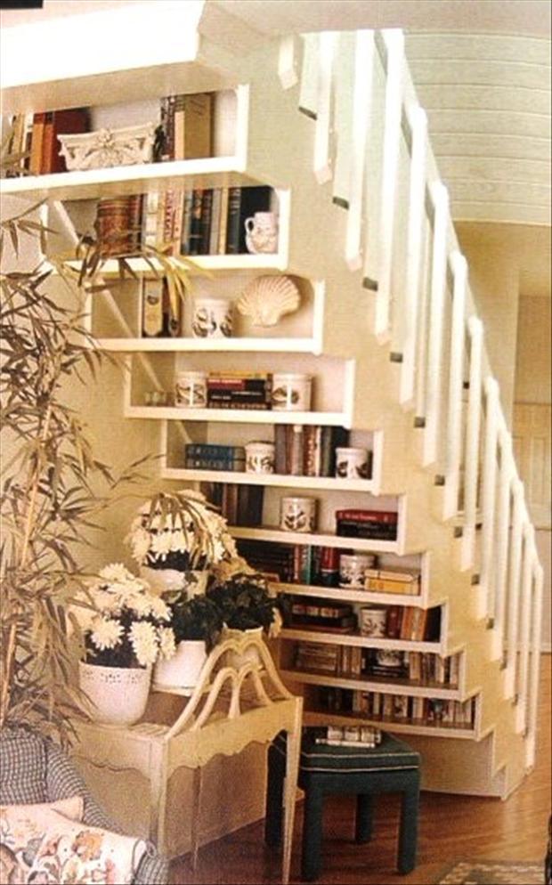 amazing bookshelf, on back of stairs