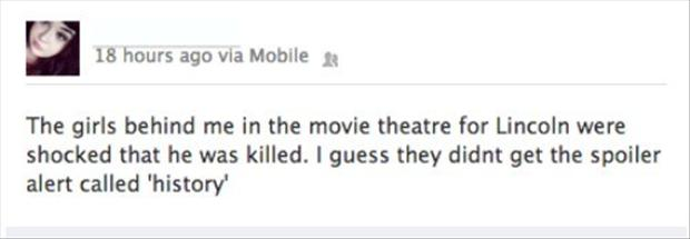 funny facebook updates, lincoln in theaters
