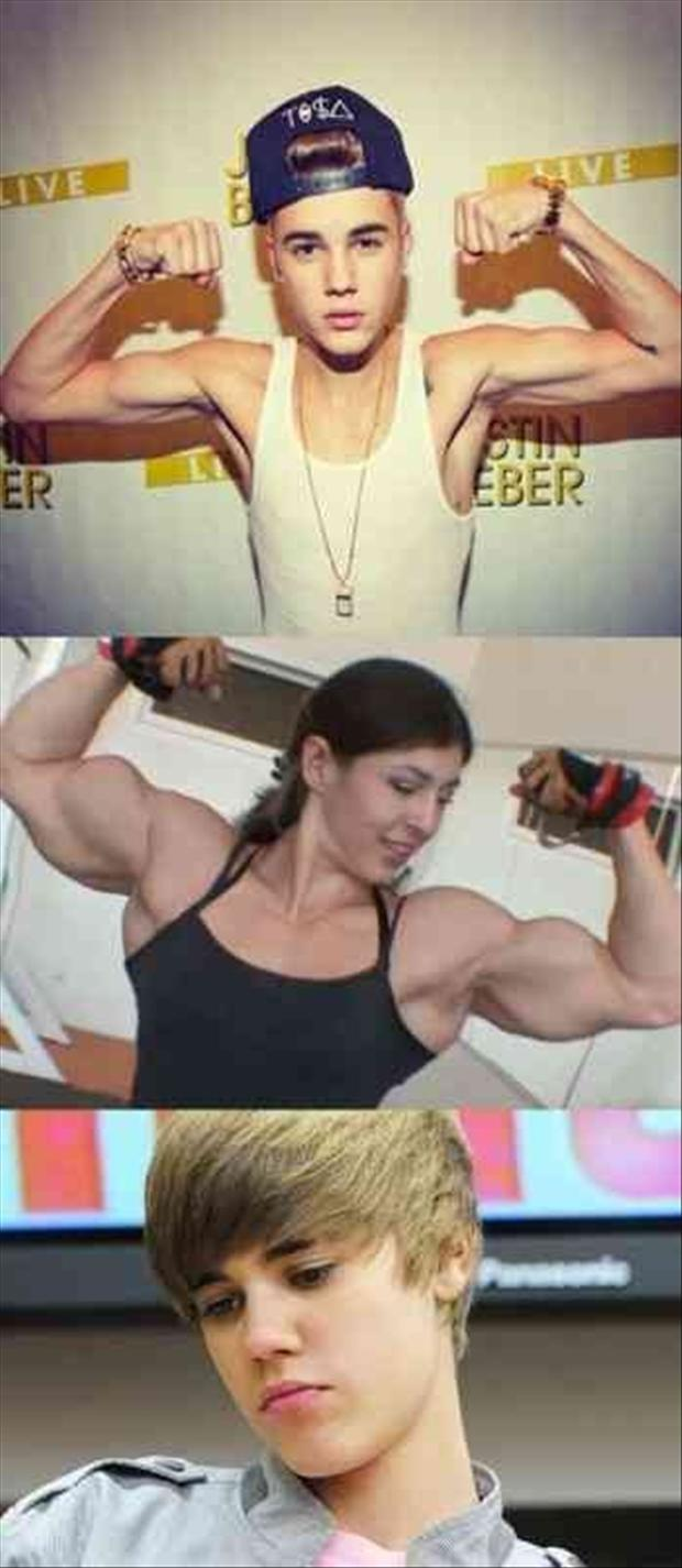 justin bieber flexing his muscles