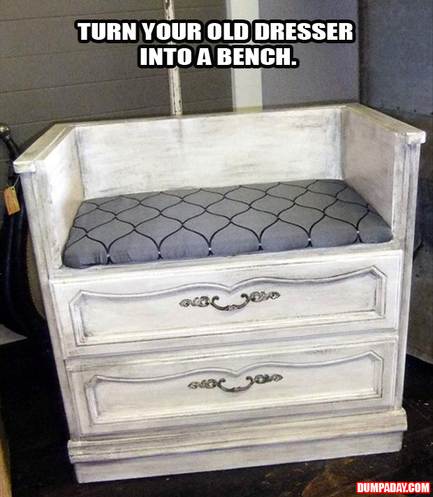 a turn an old dresser into a bench - dump a day
