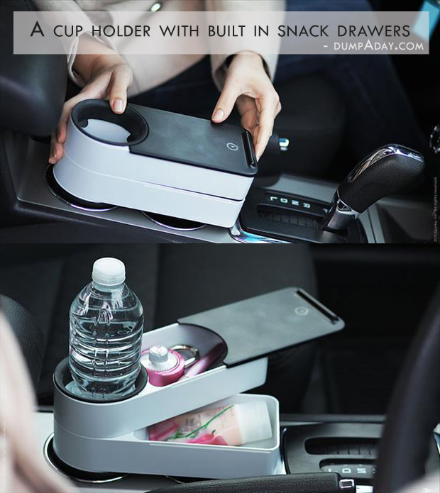 Genius Ideas- cup holder with snack drawers