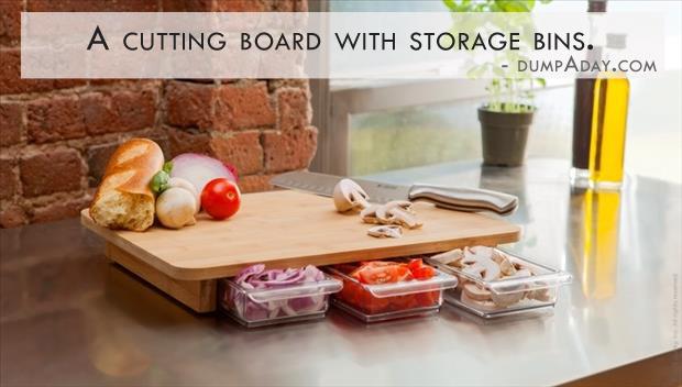 Genius Ideas- cutting board with storage bins