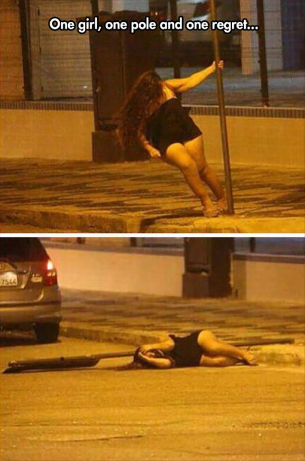 the pole and woman