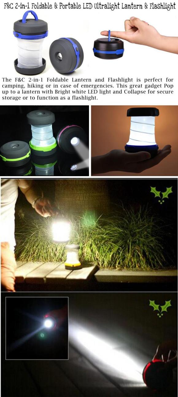 2-in-1 Foldable and Portable LED Ultralight Lantern and Flashlight