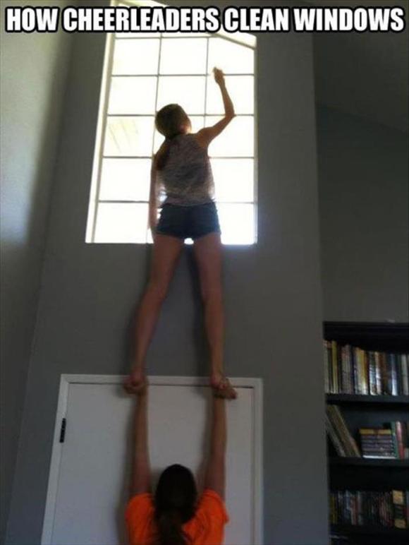 how cheerleaders clean windows