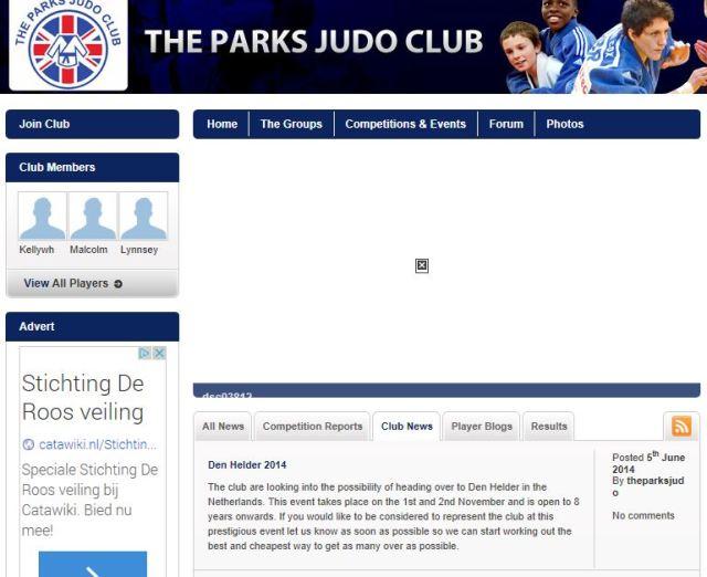 Engelse aankondiging Parks Judoclub