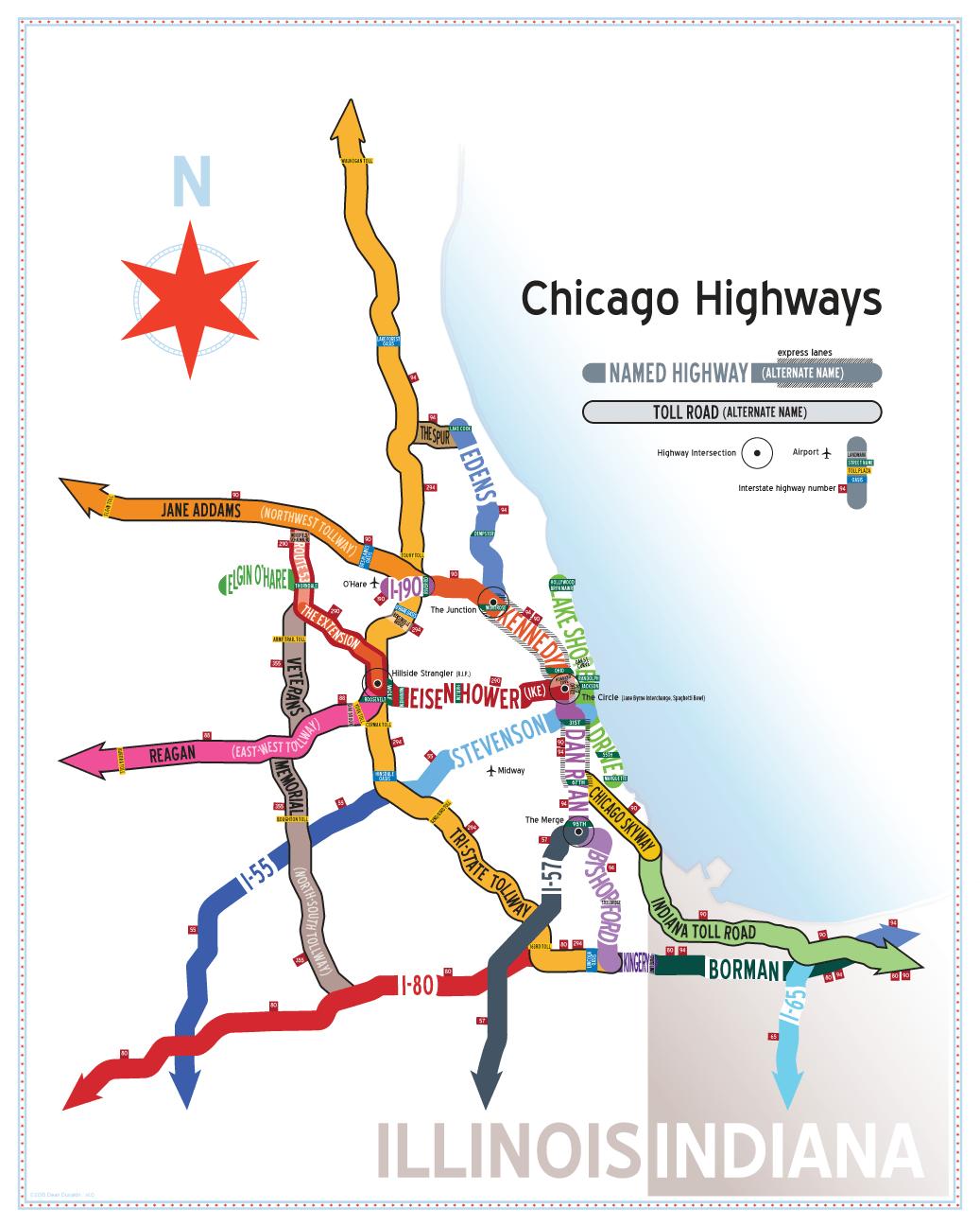 Chicago Highway Map Chicago Highway Names Map   Dean Dunakin