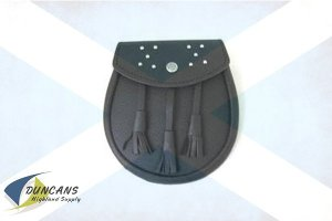 Leather Sporran with Embossed Lid and Studs
