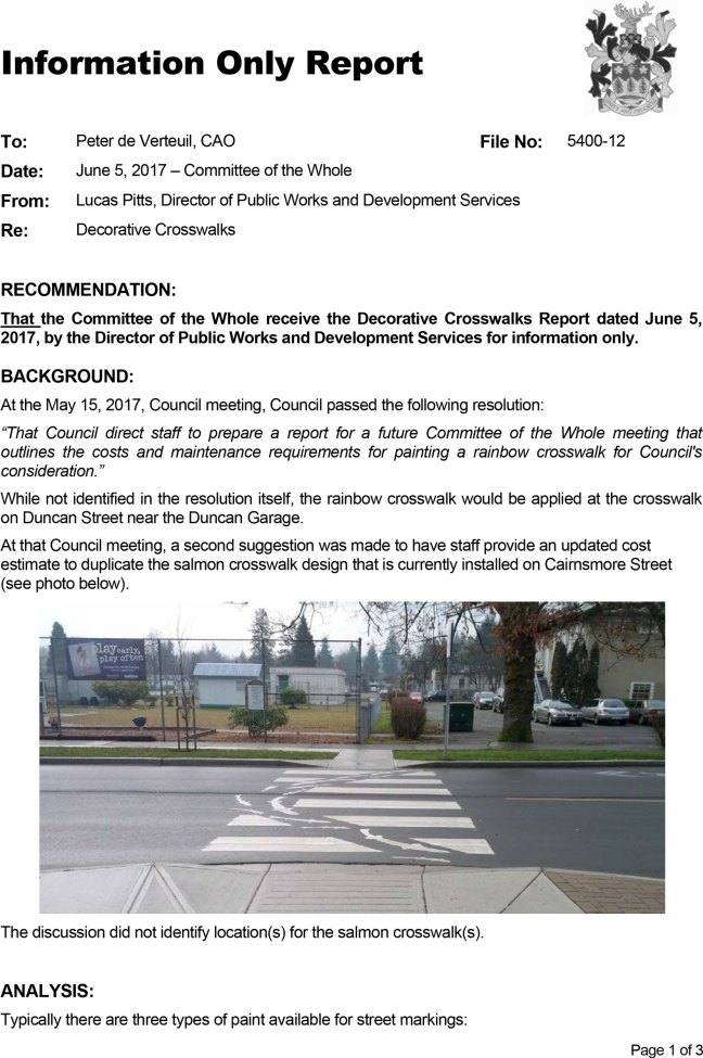 City of Duncan, Decorative Crosswalks Report-5 June 2017, page 1